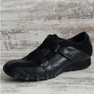 🔴Skechers Black Leather Sporty Bicycle Sneaker
